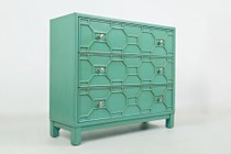 "Jofran Matrix Series 1430-40 40"" Accent Chest with Bold Colors  Sleek Finish and Full Extension Drawers in Turquoise"