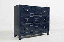 """Jofran Matrix Series 1420-40 40"""" Accent Chest with Bold Colors  Sleek Finish and Full Extension Drawers in Navy"""