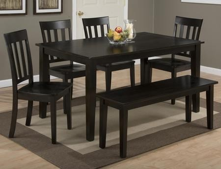 Jofran Simplicity Collection 55260SSET 6 PC Dining Room Set With Dining  Table + Bench + 4 Slat Back Chairs In Espresso Finish