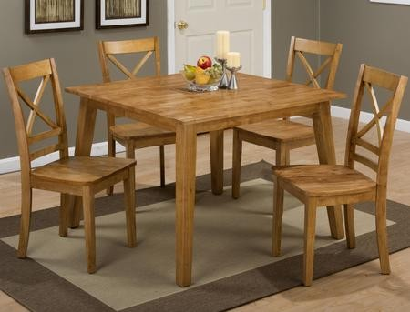 Jofran Simplicity Collection 45242XSET 5 PC Dining Room Set With Square  Dining Table + 4 X Back Chairs In Caramel Finish