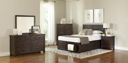 Jofran Jackson Lodge Collection 1605919293KTSET 5 PC Bedroom Set with King  Size Storage Bed + Dresser + Mirror + Chest + Nightstand in Dark Brown ...