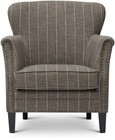 "Jofran Layla Collection LAYLA-CH-MOCHA 18"" Accent Chair with Nailhead Trim  High Density Foam  Reversible Cushion  Tapered Legs  Flared Rolled Arms and Striped Fabric Upholstery in Mocha Color"