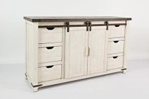 """Jofran Madison County 1706-35 60"""" Barn Door Server with Wire Management  Distressed Detailing and Adjustable Shelves in Vintage White"""