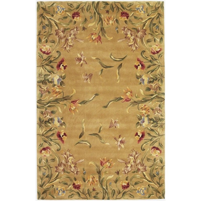 12 10 X 14 11 Persian Karajeh Hand Knotted Wool: KAS Emerald 8' X 11' Hand-Tufted Wool Rug In Gold