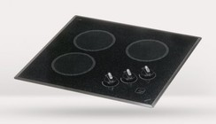 """Kenyon B40508 Mediterranean Series 22"""" Smoothtop Electric Cooktop with 3 Burners  1200 Watts  Heat-Limiting Cooking Surface and Push-to-Turn Knob Control in Black: 120 Volts"""