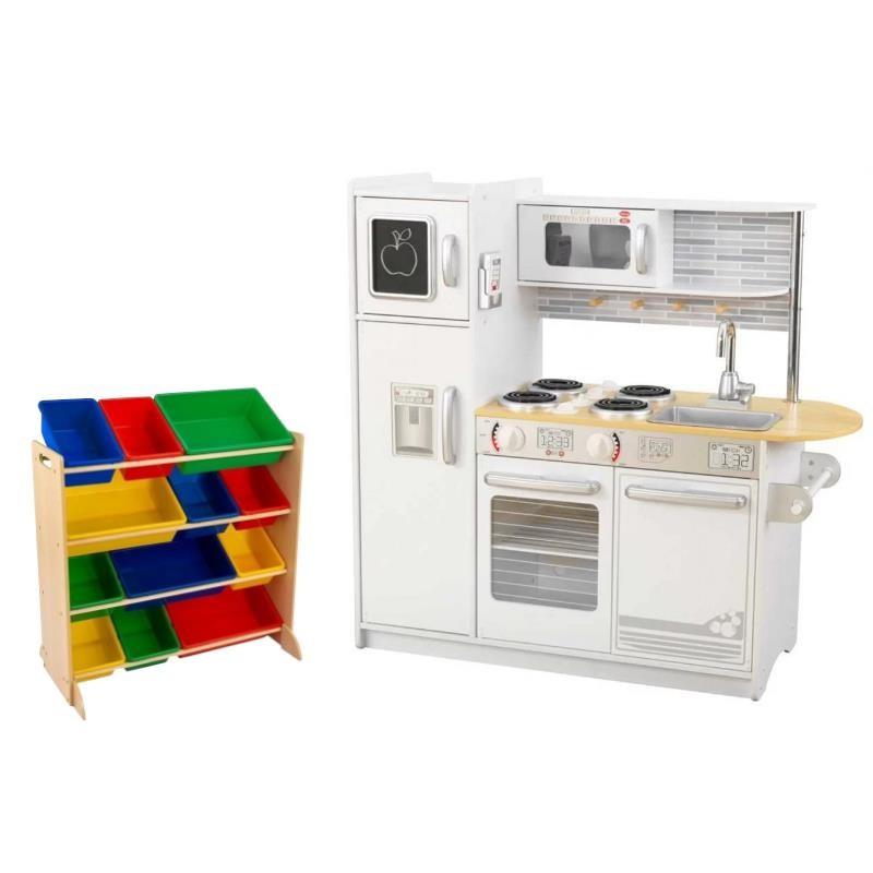 Kidkraft White Kitchen: Kidkraft 2 Piece Modern White Play Kitchen With Colorful