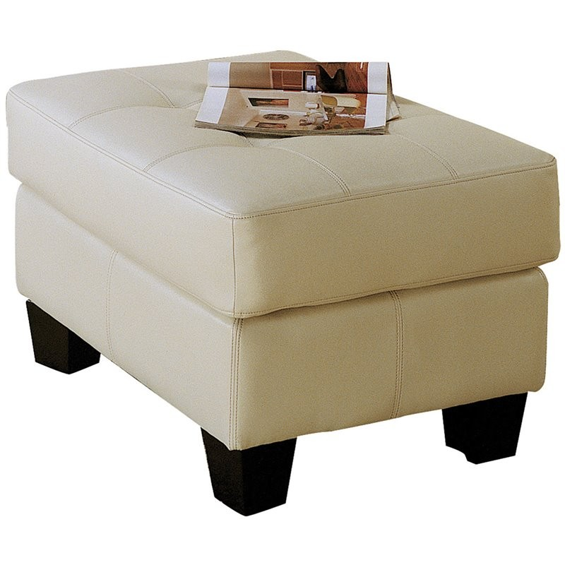 Amazing Kingfisher Lane Faux Leather Tufted Ottoman In Cream Evergreenethics Interior Chair Design Evergreenethicsorg
