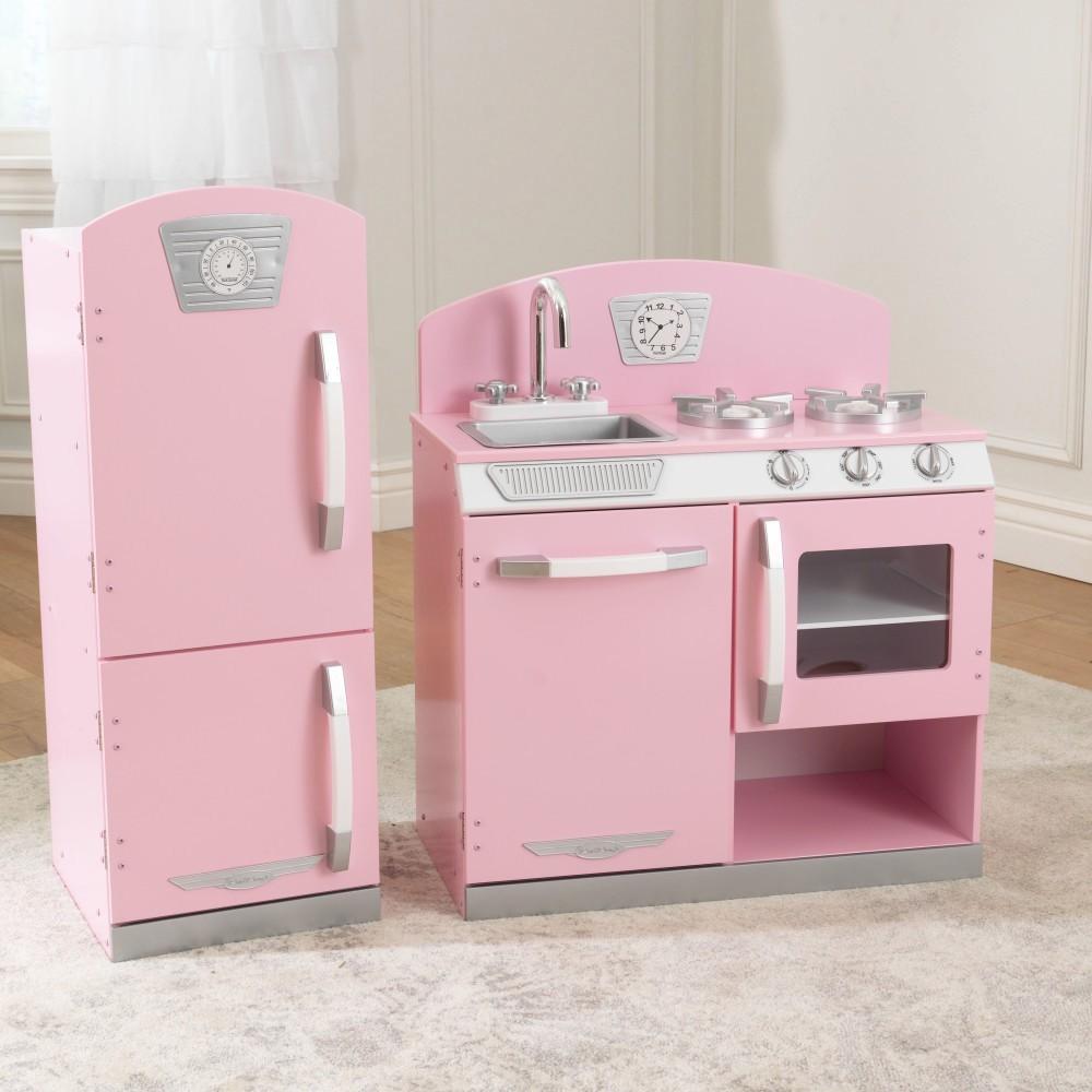 kidkraft retro kitchen with refrigerator in pink