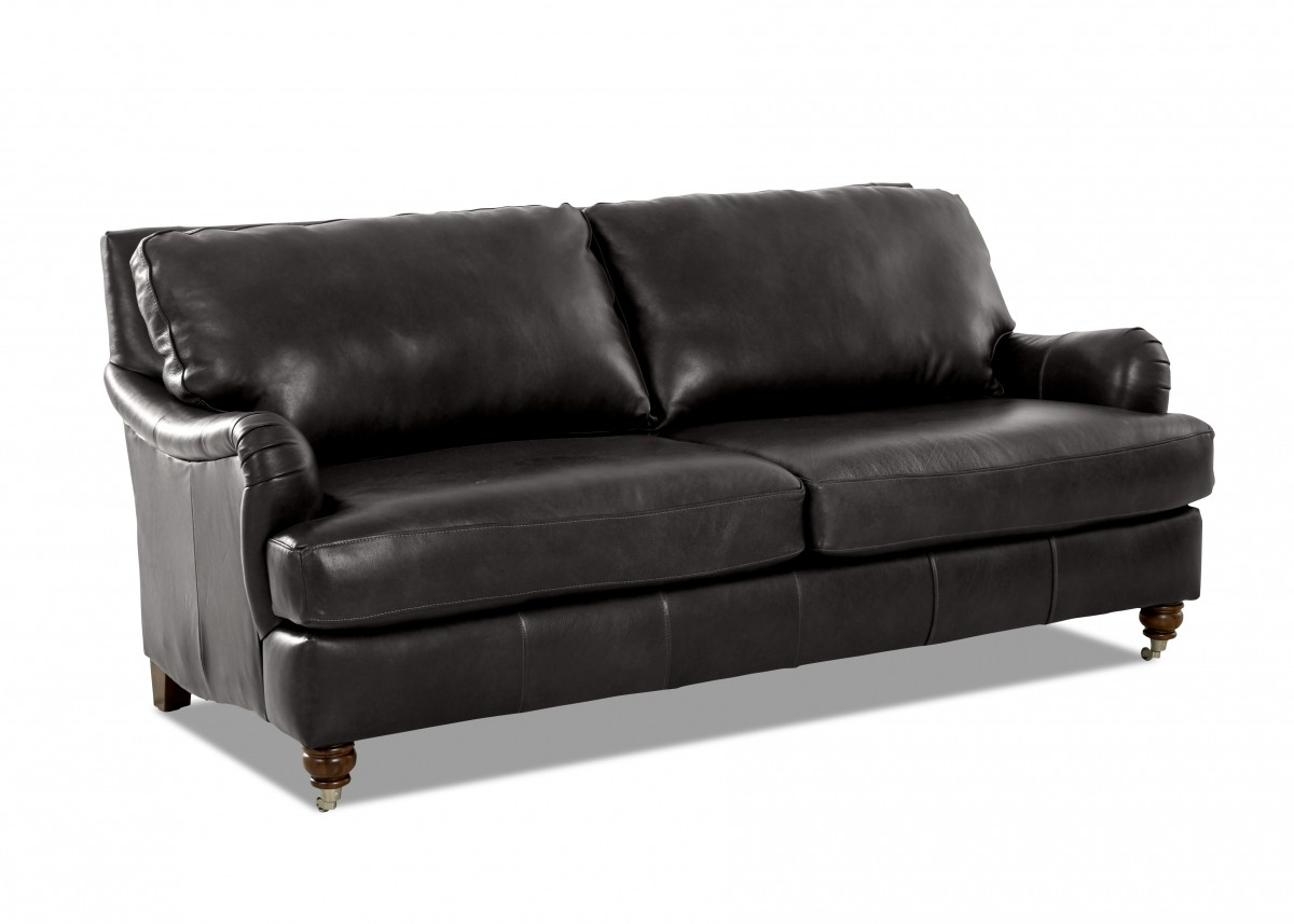 Klaussner Charlotte Abilene Steel Leather Sofa | Discount ...