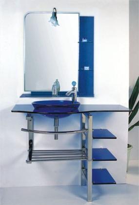 Kokols WF 27 Bathroom Blue Tempered Glass Vessel Sink Vanity Combo With  Stand U0026 Glass Shelfs