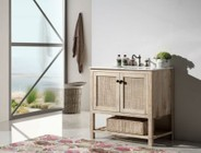 """Legion Furniture WH5136 36"""" Solid Wood Sink Vanity With Marble Top-No Faucet in White Wash"""