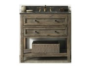 """Legion Furniture WH8036BR 36"""" Sink Vanity with Two Drawers  Slat Bottom Shelf  Moon Stone Top and White Ceramic Sink in Brown Rustic Finish"""
