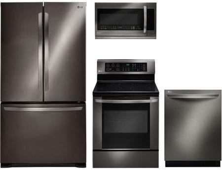 LG 4-Piece Kitchen Appliance Package in Black Stainless Steel