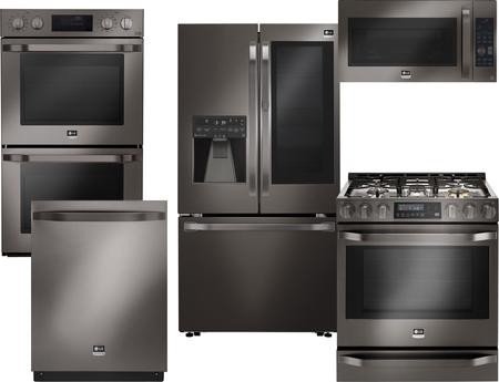 Lg Studio 5 Piece Black Stainless Steel Kitchen Package