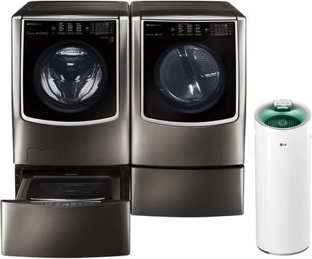 lg signature black stainless steel washer and dryer package with wm9500hka washer dlex9500k. Black Bedroom Furniture Sets. Home Design Ideas