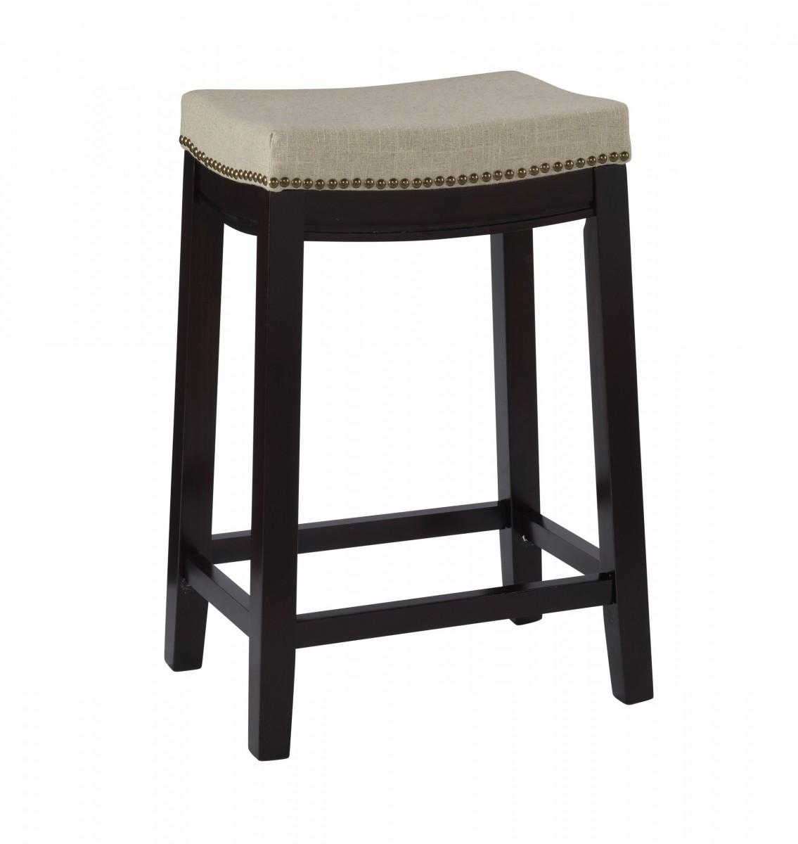 Linon Home Decor Products Inc Allure Beige Linen 24 Quot Stool In Dark Walnut Finish