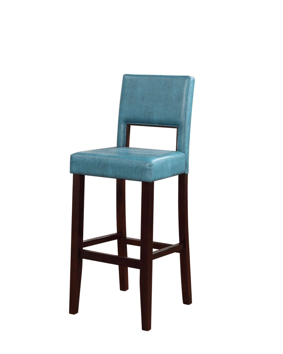 Linon Home Decor Products Inc Vega Aegean Blue Pu 30 Quot Bar Stool In Black Finish Discount Bandit