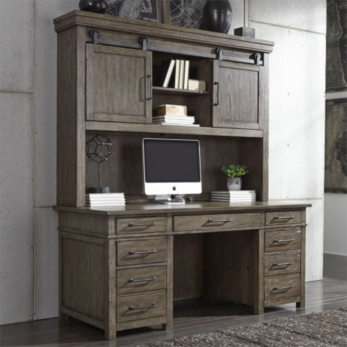 Liberty Sonoma Road Credenza With Hutch In Weather Beaten