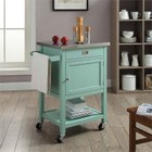 Linon Sydney Stainless Steel Top Kitchen Cart in Light Green