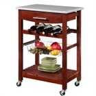 Linon Granite Top Kitchen Cart in Wenge Finish