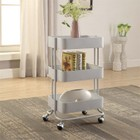 Linon 3 Tier Serving Cart in Glossy White