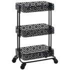 Linon 3 Tier Metal Serving Cart in Distressed Glossy Black