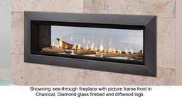 """Majestic Echelon II Series ECHEL48STIN 48"""" Natural Gas See-through Top Direct Vent Fireplace with IntelliFire Plus Ignition System  40 000 BTU and LED Lighting"""