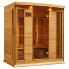 """Maxxus MX-K406-01-REDCEDAR 75"""" Low EMF Far Infrared Sauna with 4 Person Capacity  9 Carbon Heating Elements  Chromotherapy Lighting  LED Control Panels  SD Card Slot and USB Connection: Natural Red Cedar"""