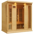 """Maxxus MX-K406-01-HEMLOCK 75"""" Low EMF Far Infrared Sauna with 4 Person Capacity  9 Carbon Heating Elements  Chromotherapy Lighting  LED Control Panels  SD Card Slot and USB Connection: Natural Hemlock"""