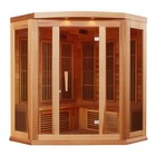 """Maxxus MX-K356-01-REDCEDAR 75"""" Low EMF Far Infrared Corner Sauna with 3 Person Capacity  9 Carbon Heating Elements  Chromotherapy Lighting  LED Control Panels  SD Card Slot and USB Connection: Natural Red Cedar"""