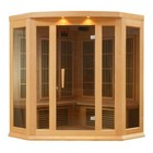 """Maxxus MX-K356-01-HEMLOCK 75"""" Low EMF Far Infrared Corner Sauna with 3 Person Capacity  9 Carbon Heating Elements  Chromotherapy Lighting  LED Control Panels  SD Card Slot and USB Connection: Natural Hemlock"""