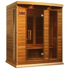 """Maxxus MX-K306-01-REDCEDAR 75"""" Low EMF Far Infrared Sauna with 3 Person Capacity  7 Carbon Heating Elements  Chromotherapy Lighting  LED Control Panels  SD and USB Connection: Red Cedar"""