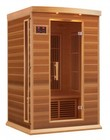 """Maxxus MX-K206-01-REDCEDAR 75"""" Low EMF Far Infrared Sauna with 2 Person Capacity  6 Carbon Heating Elements  Chromotherapy Lighting  LED Control Panels  SD and USB Connection: Natural Red Cedar"""