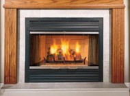"""Majestic SA42R Sovereign 42"""" Radiating Wood Burning Fireplace with Traditional Brick Interior  Steel Grate  Dual Gas Knockouts  and Safety Barrier"""