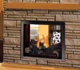 """Majestic STLDVPNSC Pearl 36"""" See-Thru Direct Vent Gas Fireplace Up to 37 000 BTUs with Tempered Glass  Premium Log Set and Glowing Ember Bed  Signature Command System and Certified Safety Barrier"""