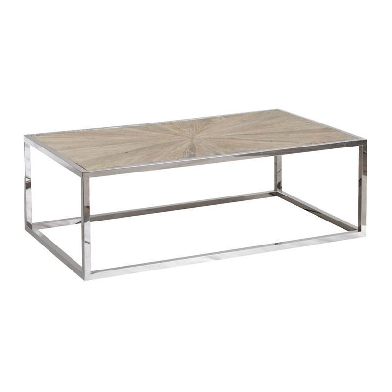 Solid Stainless Steel Coffee Table: Maklaine Coffee Table In Smoke Gray Solid Reclaimed Elm