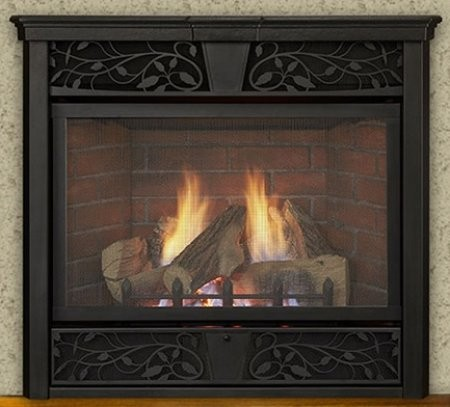 "Majestic VFC32LNV Symphony 32"" Vent-Free Gas Fireplace Up to 28 000 BTUs with Natural Blaze Burner  Exclusive Five Piece Log Set  Expansive Viewing Area and uses Millivolt Control in Traditional Style"