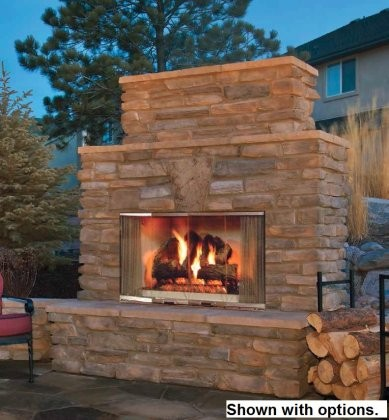 "Majestic MONTANA42 42"" Montana Outdoor Wood Burning Fireplace with Traditional Full Refractory Lining and Dual Gas Knockouts  Up to 61 000 BTUs  UL/ULC Listed"