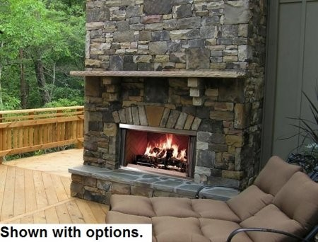 """Majestic MONTANA36 36"""" Montana Outdoor Wood Burning Fireplace with Traditional Full Refractory Lining and Dual Gas Knockouts  Up to 61 000 BTUs  UL/ULC Listed"""