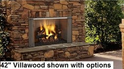 "Majestic ODVILLA42T 42"" Villawood Outdoor Wood Burning Fireplace  Up to 69 000 BUTs  Traditional Full Refractory Lining  Dual Gas Knockouts  UL/ULC Listed"