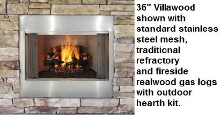 """Majestic ODVILLA36T 36"""" Villawood Outdoor Wood Burning Fireplace  Up to 69 000 BUTs  Traditional Full Refractory Lining  Dual Gas Knockouts  UL/ULC Listed"""