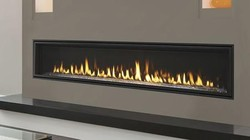 """Majestic Echelon II Series ECHEL72IN 72"""" Natural Gas Fireplace with 58 000 BTU Capacity  Direct Vent Technology and 2400 sq. ft. Heat Range"""