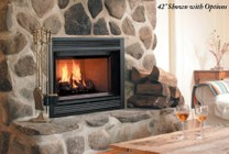 """Majestic SA36R Sovereign 36"""" Radiating Wood Burning Fireplace with Traditional Brick Interior  Steel Grate  Dual Gas Knockouts  and Safety Barrier"""