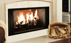 """Majestic BE Royalton 42"""" Radiant Wood Burning Fireplace with Full Refractory Firebox  Traditional Brick Interior  Ash Lip and Safey Firescreen"""