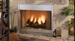 """Majestic Al Fresco ODGSR36ARN 36"""" Outdoor Natural Gas Fireplace with 60 000 BTU's  Insta-Flame Gas Burner  CSA Design Certified  Vent-Free Design  and Cold/Weather Resistance  in Stainless Steel"""