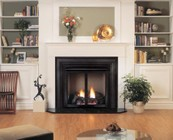 """Majestic LCUF32-R Lo-Rider LCUF Clean Face Firebox with 32"""" Opening  Herringbone Refractory Firebrick  Radiant Design  and CSA Design"""