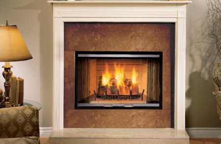 """Majestic SR42A Sovereign 42"""" Woodburning Radiant Fireplace with Tapered Firebox  Ash Management System  and Expansive Viewing Area"""