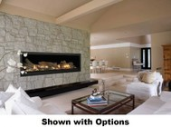 """Majestic Aura 70"""" Natural Gas Top Direct Vent Fireplace with Linear Fireplace Design  Safety Barrier Total Signature Command Control System and Liquid Propane Conversion Kit"""
