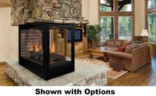 """Majestic Pearl PFLDVNSCSB 36"""" Peninsula Top/Rear Convertable Clean Face Direct Vent Fireplace with Three Viewing Styles  Safety Barrier and Signature Command Control Ignition System: Natural Gas"""