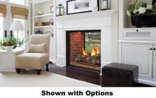 """Majestic Marquis KSTDV500NTSCSB 48"""" Top Vent Clean Face See-Thru Direct Vent Fireplace with Accent Light  Safety Barrier and Signature Command Control Ignition System: Natural Gas"""